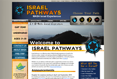 Israel Pathways Screenshot - Developed by Web Symphonies